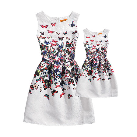 Mom Girl Colorful Butterflies Prints Summer Dress