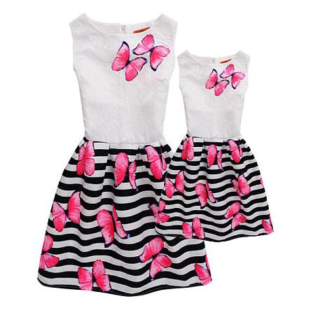 Mom Girl Butterflies Stripes Summer Dress
