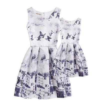 Mom Girl Butterflies Houses Prints Summer Dress
