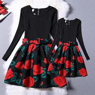 Mom Girl Roses Prints Long Sleeve Dress