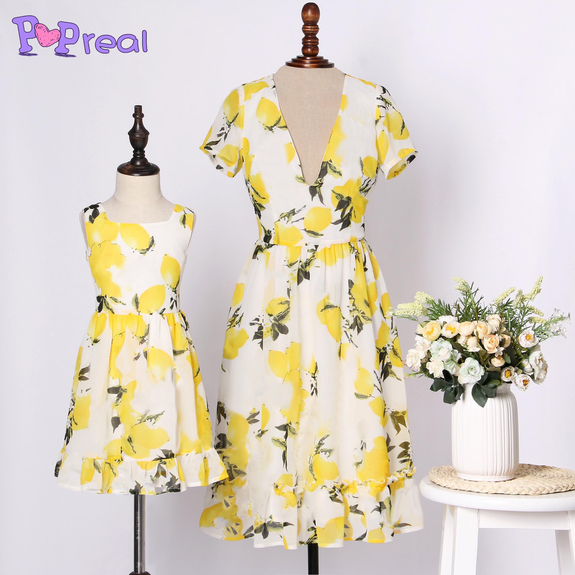 Mom Girl Yellow Lemon Print Dress