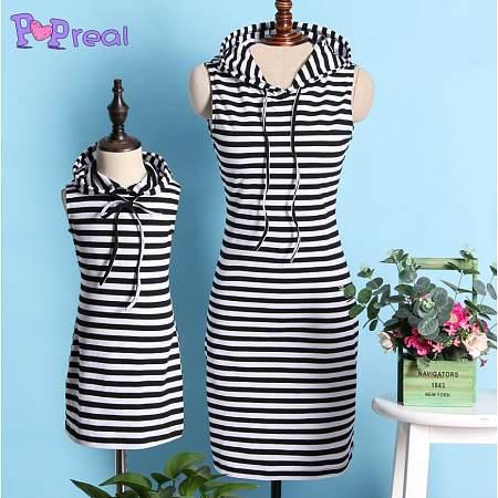 Mom Girl Black White Stripes Cotton Dress