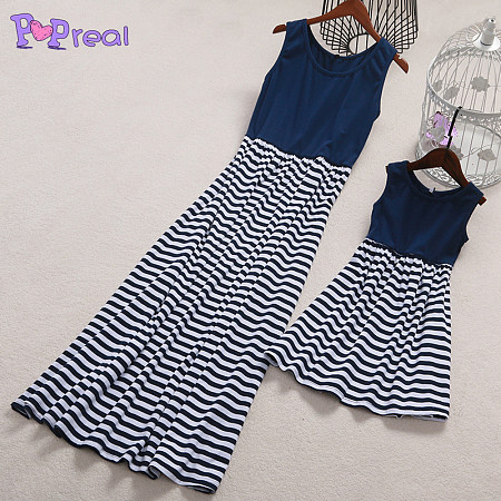 Mom Girl Navy Blue Stripes Summer Dress