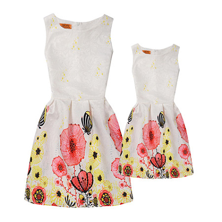 Buy Mom Girl Floral Prints Dress, white, MX17050602 for $18.13 in Popreal store