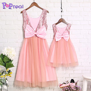 Mom Girl Graceful Shining Sequins Tulle Dress