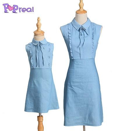 Mom Girl Blue Turnover Collar Cotton Dress