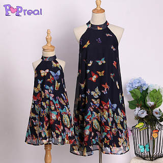 Mom Girl Butterfly Prints Halter Shift Dress