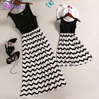 Mom Girl Black Wave Prints Matching Dress