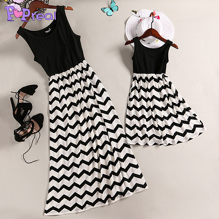 4a28cc892e04 Mom Girl Black Wave Prints Matching Dress - popreal.com