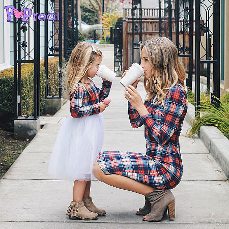 0f22cdb88c Mom Girl Plaid Tulle Matching Dress Only $8.94 - popreal.com