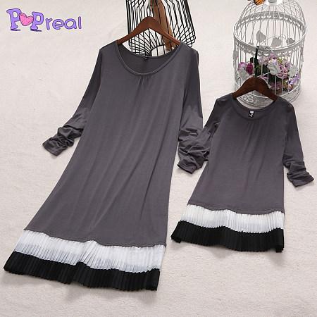 Mom Girl Black White Stripes Patchwork Dress