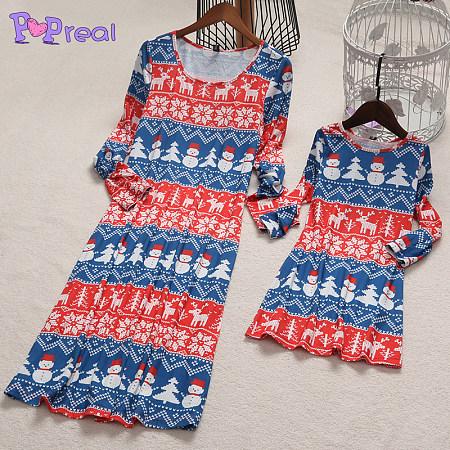 Mom Girl Snowmen Reindeer Patterns Christmas Dress