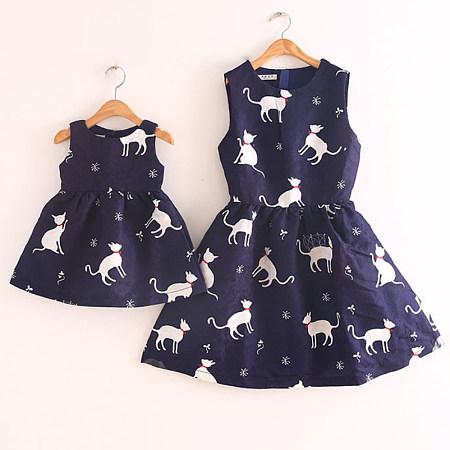 Mom Girl Cartoon Kitty Pattern Sleeveless Dress