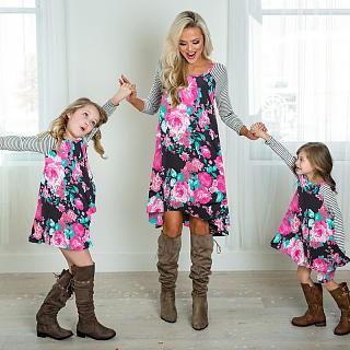 Mom Girl Flower Prints Color Block Matching Dress