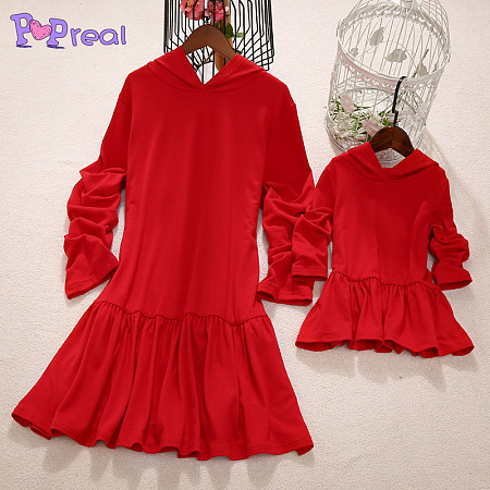 Mom Girl Solid Color Hooded Matching Dress