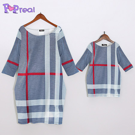 b24ca9aa45f Mom Girl Plaid Color Block Pullover Matching Dress