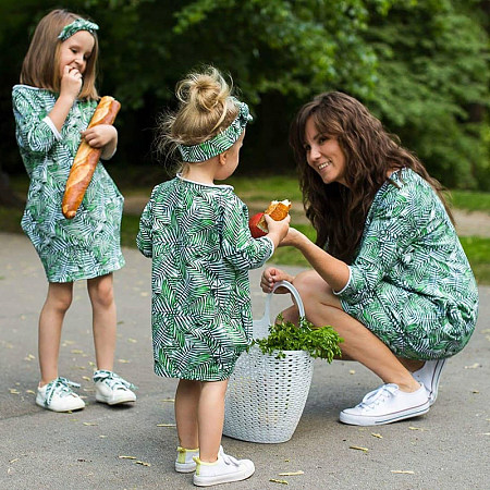 Mom Girl Tropical Palms Prints Matching Dress