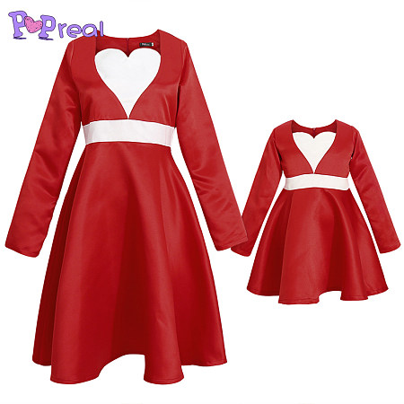 Mom Girl Heart-Shaped Collar Matching Dress