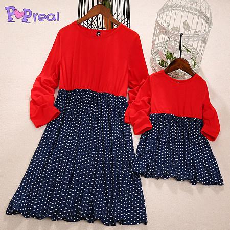 Mom Girl Crewneck Dot Prints Matching Dress