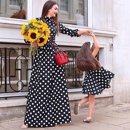Mom Girl Dot Prints Matching Dress
