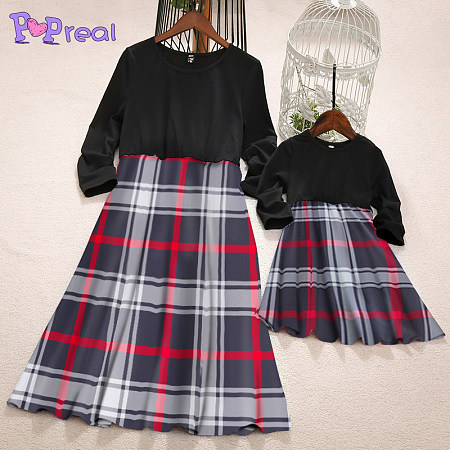 Mom Girl Plaid Crewneck Matching Dress