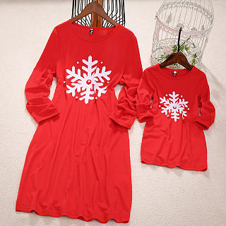 Mom Girl Snowflake Pattern Matching Dress