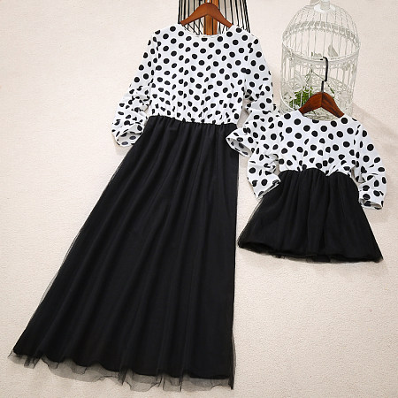 Mom Girl Dot Prints Tulle Matching Dress