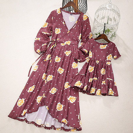 Mom Girl Flower And Dot Prints Matching Dress