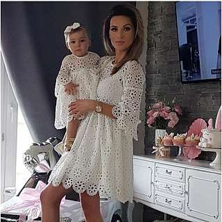 Mom Girl Flower Pattern Lace Matching Dress