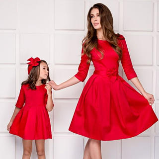 Mom Solid Color Bowknot Decorate Matching Dress
