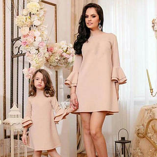 Mom Girl Solid Color Tiered Sleeve Matching Dress