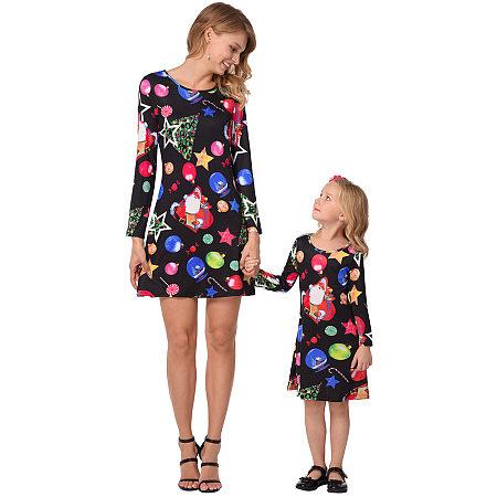 Mom Girl Christmas Decoration Prints Matching Dress
