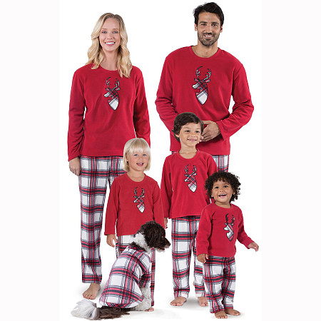 Christmas Cartoon Reindeer Pattern Plaid Matching Family Pajamas, 5696109