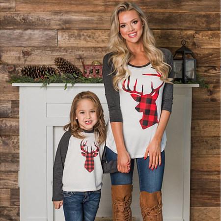 Mom Girl Reindeer Pattern Matching Top, 5699972