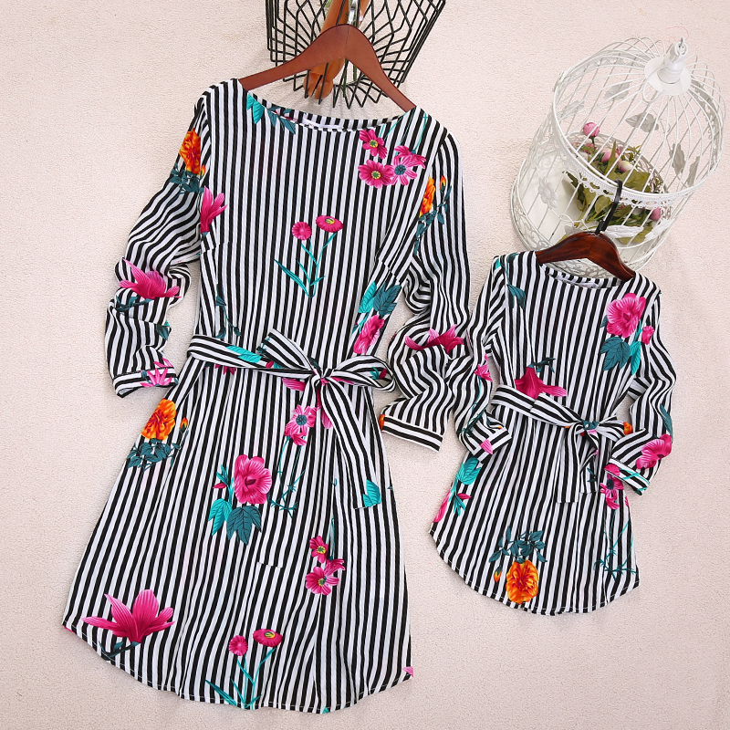 Mom Girl Flower Prints Stripes Self Tie Matching Dress