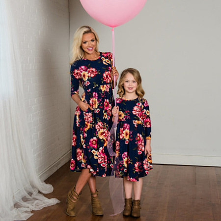 Mom Girl Flowers Prints Matching Dress