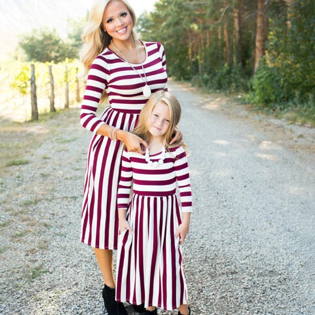 Mom Girl Stripes Color Block Matching Dress