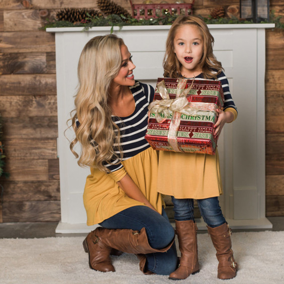 Mom Girl Color Block Stripes Matching Outfits
