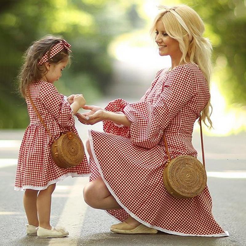 Mom Girl Plaid Lace Edge Matching Dress