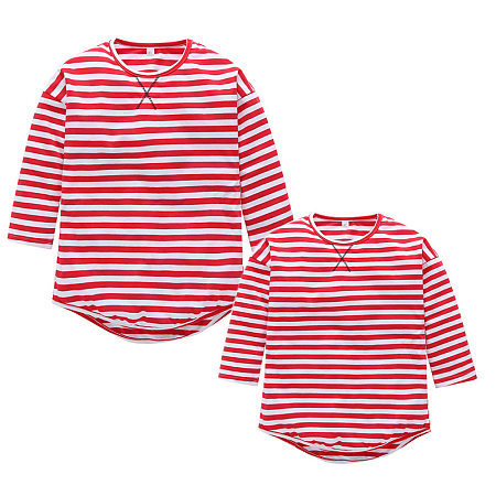 Mom And Me Color Block Stripes Matching Top