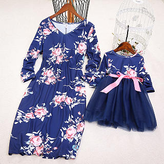Mom Girl Flower Prints Self Tie Matching Dress