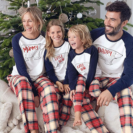 Christmas Bear Pattern Color Block Family Pajamas, 5779838