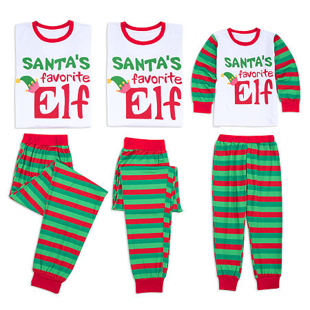 Cartoon Letter Pattern Striped Family Christmas Pajamas, 5793072