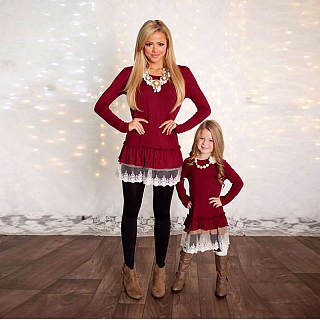 Mom Girl Solid Color Patchwork Matching Dress