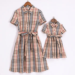 Mom Girl Plaid Matching Dress