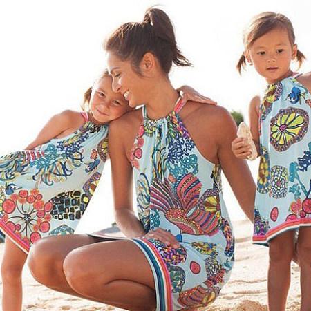 5d54643a06 Mom Girl Geometric Pattern Halter Shift Dress Only $13.89 - popreal.com