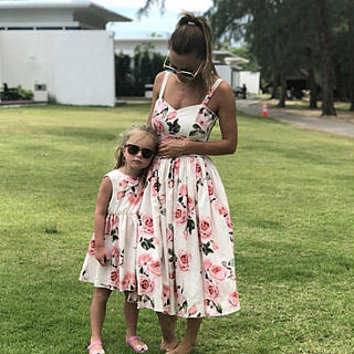 Mom Girl Flower Prints Sleeveless Matching Cami Dress