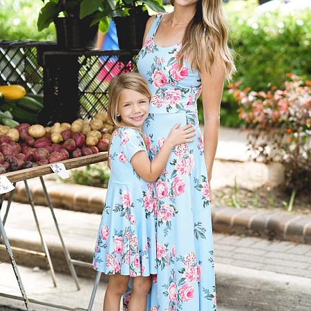 Mom Girl Flowers Prints Matching Dress, 6071376