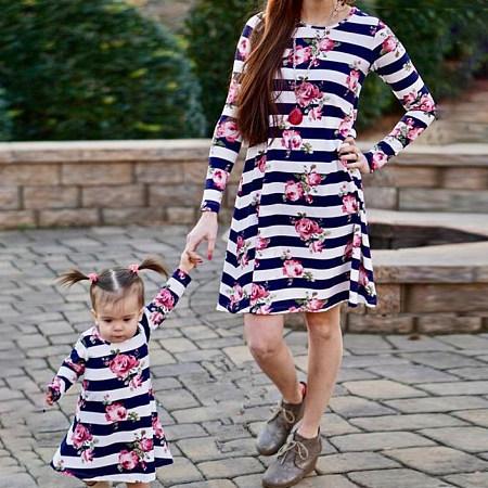 Mom Girl Stripes Flower Prints Matching Dress, 6168850