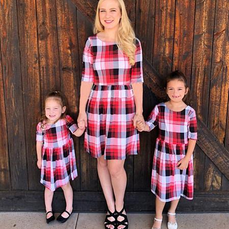 42759ccbc50 Mom Girl Plaid Color Block Matching Dress